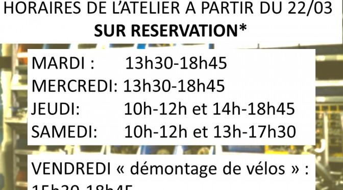 horaires de l atelier mars 2021 Covid revu